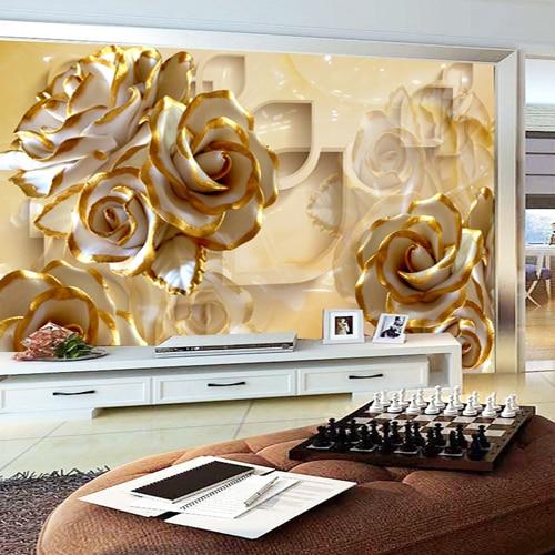 Custom Size Photo TV background living room bedroom wallpaper mural 3D stereo warm golden rose wallpaper custom size photo customized 3d stereo sports wallpaper gym yoga basketball stadium playground wallpaper mural