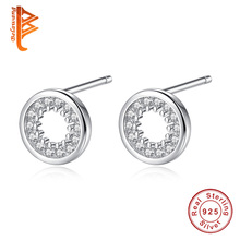 BELAWANG 925 Sterling Silver Clear CZ Circle Round Stud Earrings for Women Girls Minimalist Jewelry Fashion Accessories Gifts