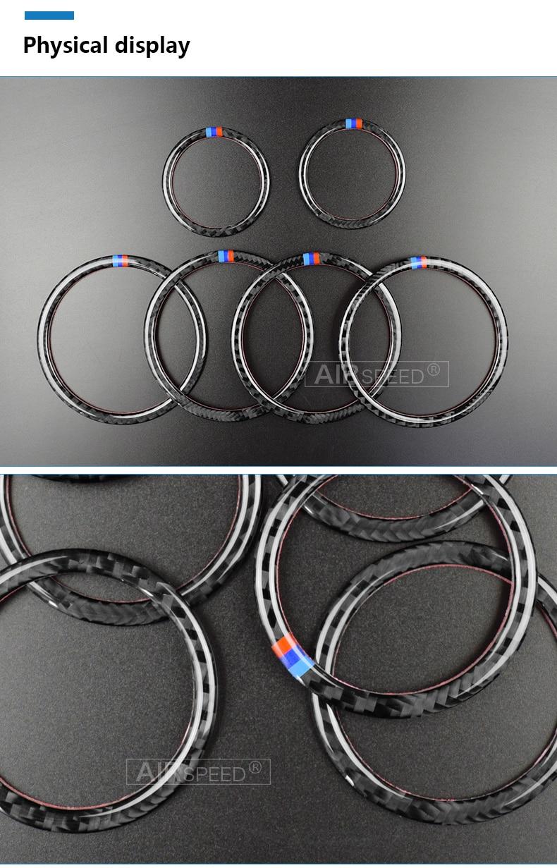 Airspeed for BMW F25 X3 X4 F26 X4 BMW F26 F07 Sticker for BMW X3 F25 Carbon Fiber Interior Trim Stickers Car Door Speaker Ring (5)