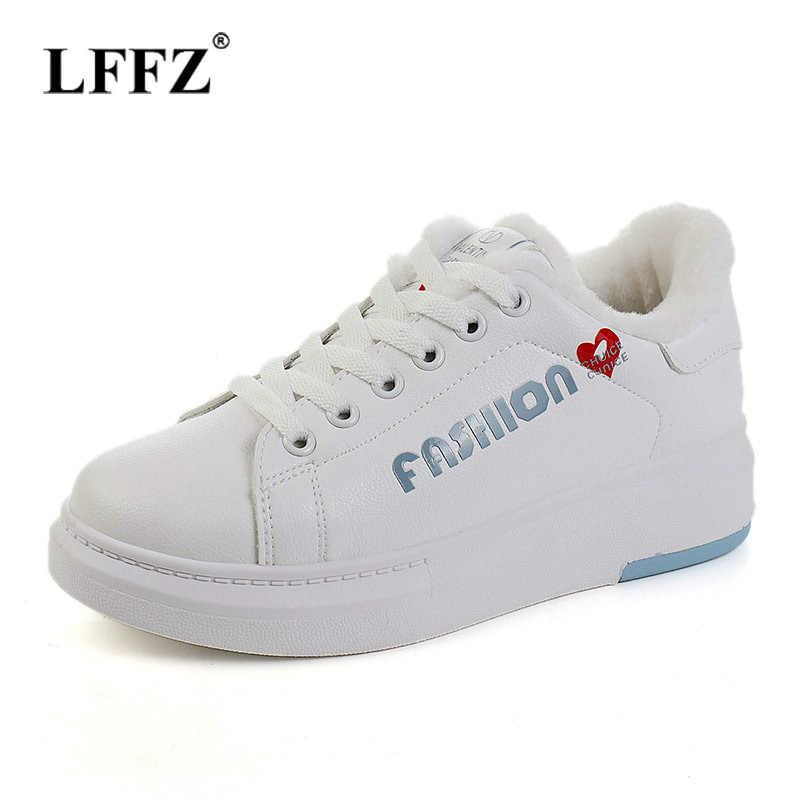Lzzf 2018 Winter Fashion Casual Lace Up Leather Black Platforms Women White  Shoes Sneakers Peluche for 4c066aca320d