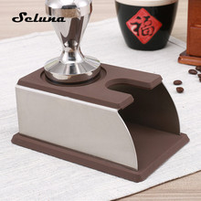 Silicone Coffee Tamper Mat Stainless Steel Espresso Coffee Powder Holder Press Support Base Barista Coffee Machine Tool