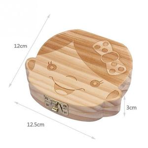 Lovely Girl /Boy Image Wooden Baby Milk Teeth Box Baby Souvenirs Fetal Hair Tooth Collection Save Box Recording Baby Growth