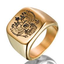 Bague de bras avec emblème d'aigle de la fédération de russie pour hommes, anneau Signet carré en acier inoxydable 316L, bijoux Rock, cadeau à la mode