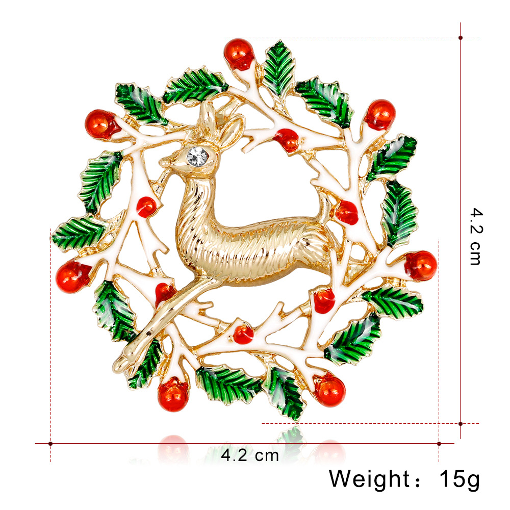 CHUKUI New Year Christmas Enamel Brooch Flower Wreath Deer Brooch Pin For Women Party Jewlery Christmas Gift (5)