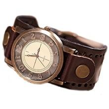 GNOVA Platine Véritable Bracelet En Cuir Montre Hommes de Haute Qualité Montre-Bracelet Femmes Rétro Vintage De Mode Genève Style B017