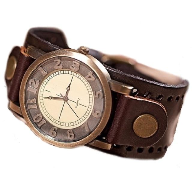 GNOVA Platinum Genuine Leather Bracelet Watch Men High Quality Wristwatch Women Retro Vintage Fashion Geneva Style B017