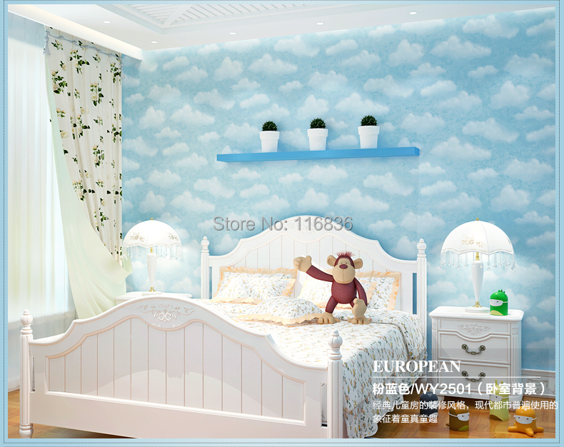 child non-woven wallpaper blue sky boys bedroom & pink sky girls princess room wallpaper 53*1000cm брелок blue sky faux taobao pc006