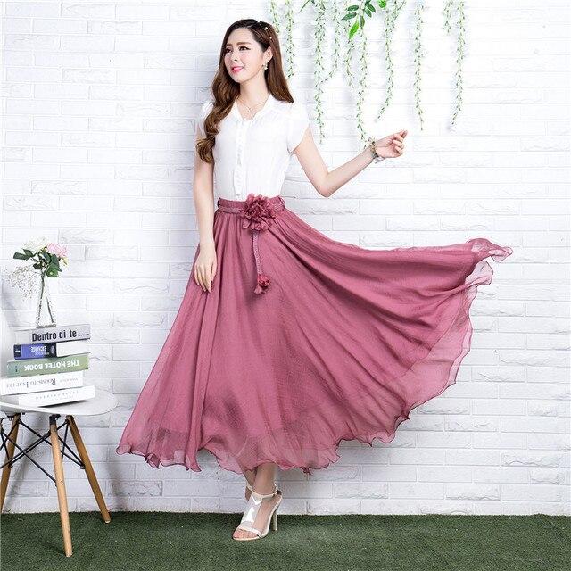 Летняя длинная юбка женская 2017 Чешский бренд шифоновая юбка макси Falda эластичный пояс-Line пляж вуаль юбка 5 цветов