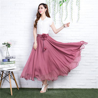 Summer Long Skirt Womens 2017 Bohemian Brand Chiffon Skirt Maxi Falda Elastic Waist A Line Beach