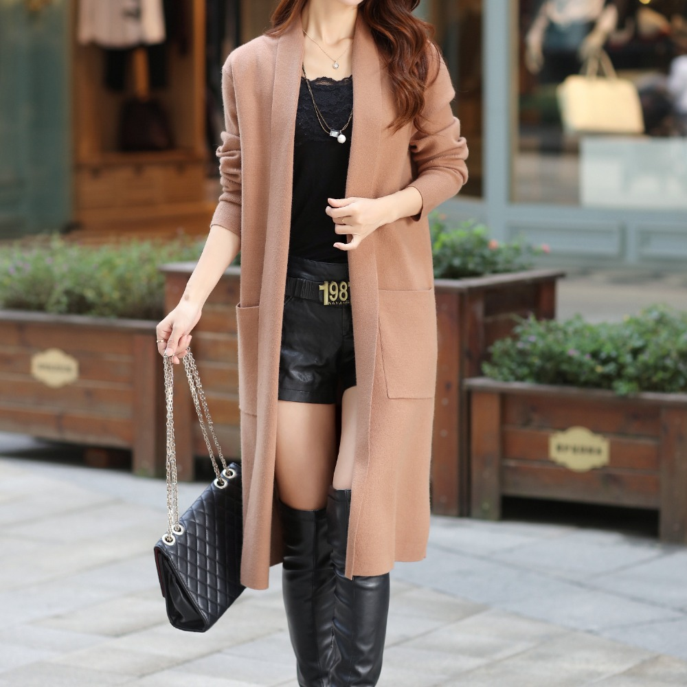 2016 Winter Autumn New Style Pure Color Pockets Design Ladys Long Knitted Sweater Coat Cardigan