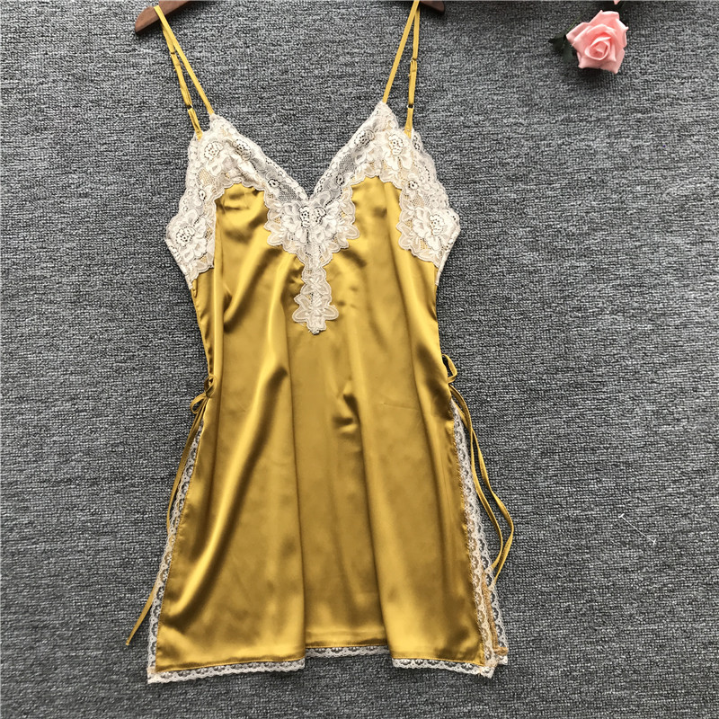 Summer Women   Nightgowns     Sleepshirts   Nightshirts Silk Sleepwear Satin Sexy Spaghetti Strap Nightdress Lace Nightwear Night Gown