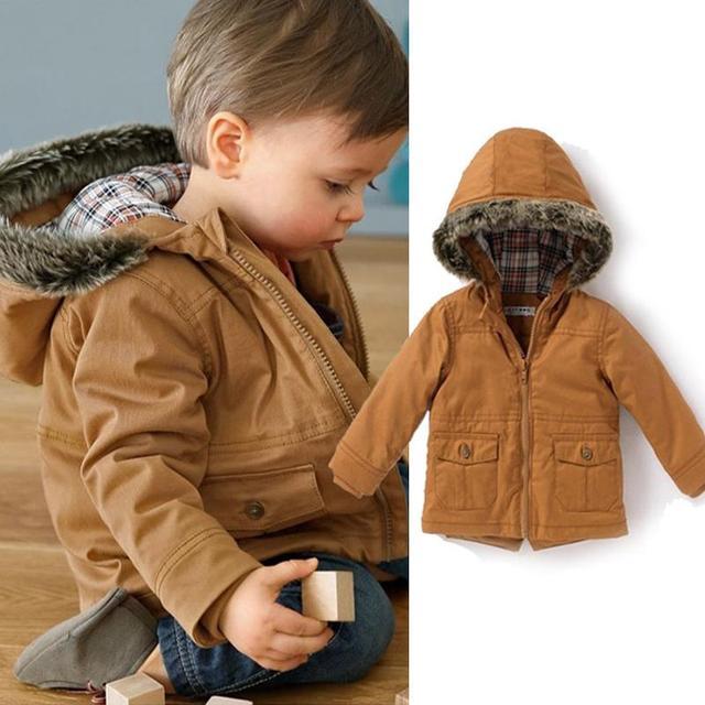 7dd8132afa0f9 Europe Little Boys Winter Jacket Thick Warm Parka Coat Cotton Hooded Coats  Youth Kids Doudoune Enfant Parka Europe Winter Jacket