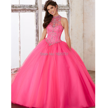 88d7c193b Vestidos de 15 anos azul rosa vestidos de quinceañera 2017 de cuello alto  baratos joyería de quinceanera vestidos vestido de bola de tulle sweet 16  vestidos