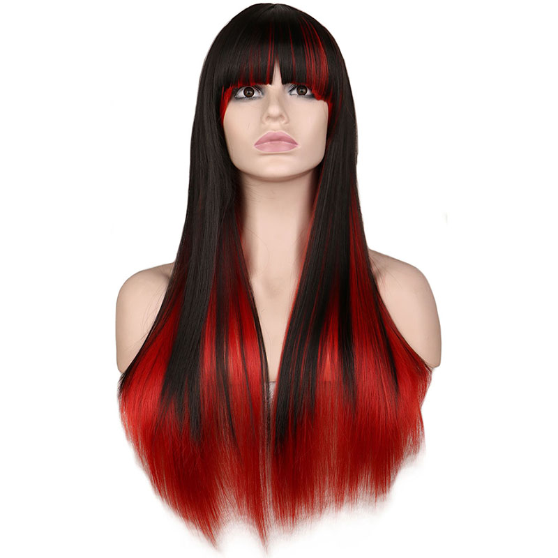 QQXCAIW Long Straight Cosplay Wig Women Costume Party Black Red Ombre 68 CmHeat Resistant Synthetic Hair Wigs