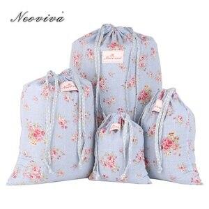 Neoviva хлопковая дорожная сумка для хранения белья, упаковка из 4 разных размеров, цветочные синие сумки для хранения дома Camasir