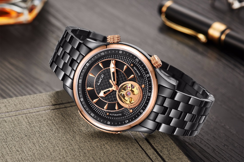 Mige 2018 New Top Luxury Brand Skeleton Mechanical Man Watch Rosegole Black Steel Case Material Automatic Waterproof Men Watches in Mechanical Watches from Watches