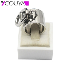 2016 Women's Rings US Size 6-11 Stainless Steel Silver Punk Width Rings With oval-shaped Button Fashion Party Jewelry R10067