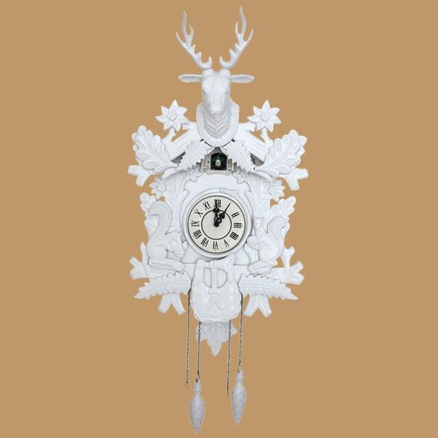 White Wall Clock Cuckoo Wood Handmade Intelligent Sensitization Mute