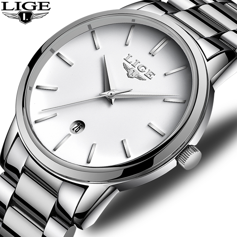 WISHDOIT LIGE Watch Men Sport Quartz Full Steel