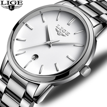 LIGE Watch Men Fashion Sport Quartz Watches Top Brand Luxury Full Steel Business Watch Automatic Date Clock Relogio Masculino guanqin top brand luxury watch men automatic date full stainless steel watch man fashion mechanical watches relogio masculino