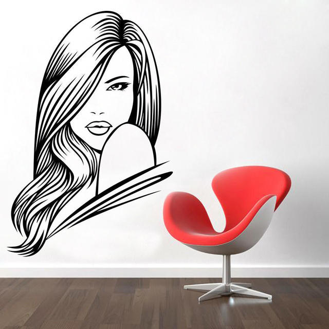 Hair Beauty Salon Decal Vinyl Sticker Woman Long Lashes Art Home