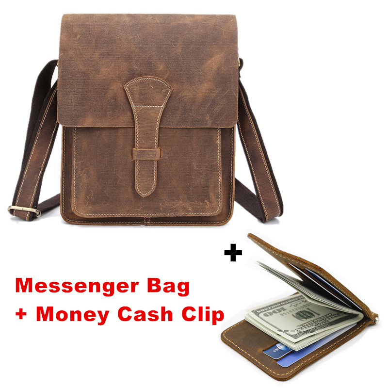 Crazy Horse Genuine Leather Men Messenger Bag Male Vintage Small Shoulder Crossbody Bags + Money Cash Clip Wallet 25% off ms crazy horse genuine leather men bag men s leather bag men messenger bags shoulder crossbody bags man handbag briefcase tw2011