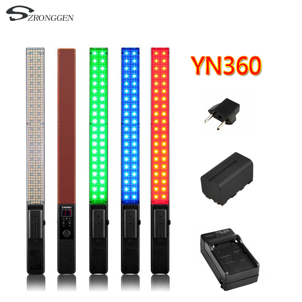 New YONGNUO YN360 Handheld LED Video Light Photography lights 3200k 5500k RGB Colorful Battery pack