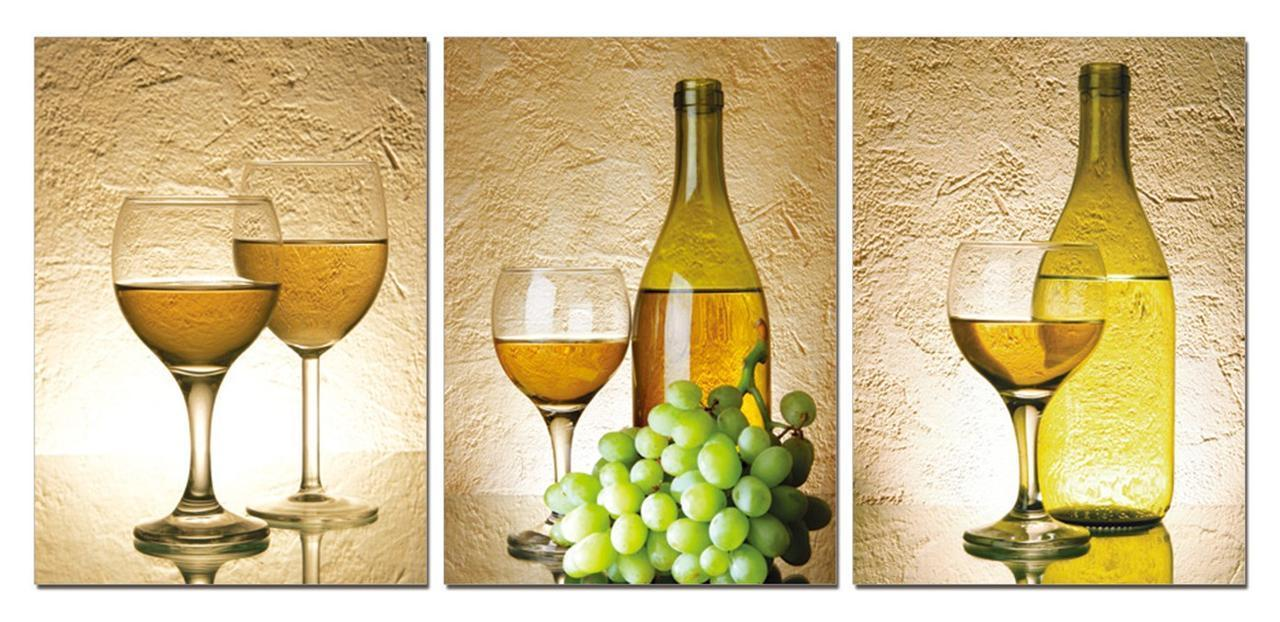 Kitchen art wine - Modern Decor Picture 3 Piece Realist Combination Canvas Painting White Grape Wine Art Canvas For Club