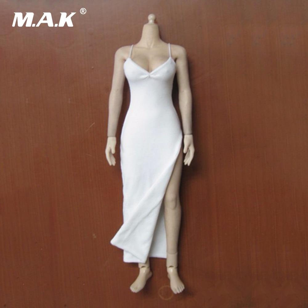 "1/6 Female  White Cheongsam Dress For 12"" Action Figure Body Model Clothing Toys  Accessory"