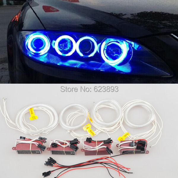 Free Shipping,8pcs Super Bright 7000K Blue CCFL HALO RINGS ANGEL EYES Lights  For Mazda6