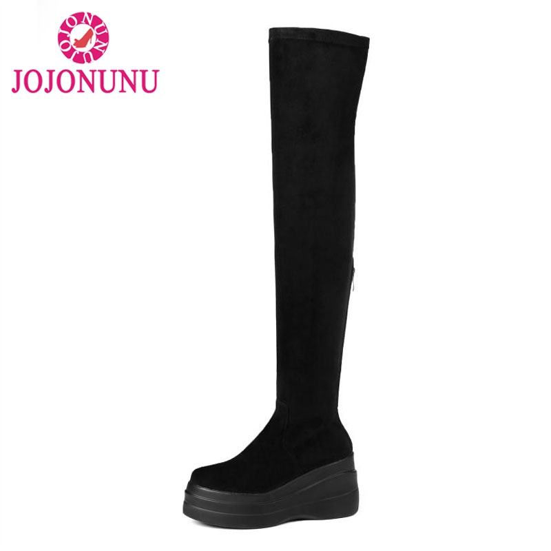 JOJONUNU Women Over The Knee Elastic Boots Winter Fashion Trifle Bottom Round Toe Zipper Stretch Real Leather Boots Size 34-39JOJONUNU Women Over The Knee Elastic Boots Winter Fashion Trifle Bottom Round Toe Zipper Stretch Real Leather Boots Size 34-39