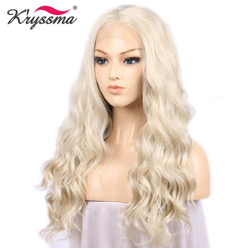 Light Platinum Blonde Wig Synthetic Lace Front Wig Cosplay White Long Wavy Wigs For Women Glueless Heat Resistant Fiber