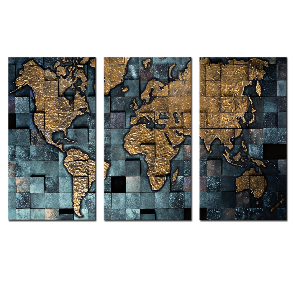 Us 22 62 3 Panel Wall Art World Map Poster Office Decor Contemporary Prints Of The Modern Canvas Artwork Decoration In