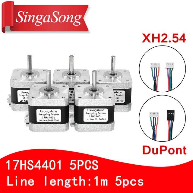 5pcs 4 lead Nema17 Stepper Motor 42 motor Nema 17 motor 42BYGH 38MM 1.5A (17HS4401) motor for CNC XYZ 3d printer motor