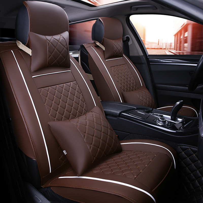 ( Front + Rear ) Luxury Leather car seat cover 4 Season For benz mercedes w110 w114 w115 w123 t123 w124 t124 w463 x204 styling