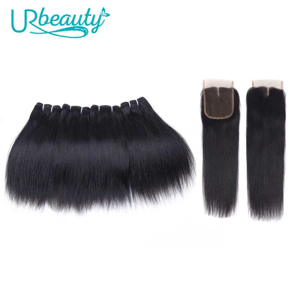Human Hair Bundles with Closure Straight Brazilian Hair 4 Bundles with Middle Part Closure 100% Remy Human Weaving for Wig 8""