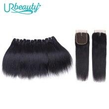 """שיער טבעי חבילות עם סגירה ישר ברזילאי שיער 4 חבילות עם אמצע חלק סגירת 100% רמי אדם אריגת פאה 8"""""""
