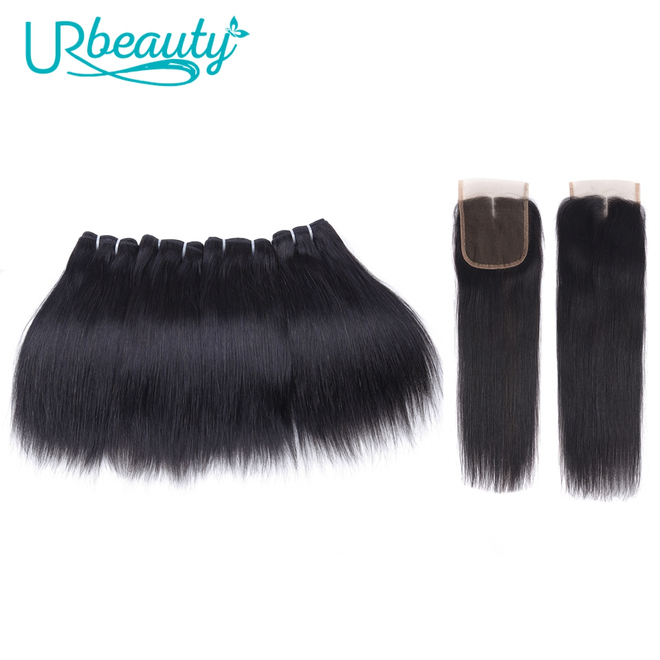 Human Hair Bundles With Closure Straight Brazilian Hair 4 Bundles With Middle Part Closure 100% Remy Human Weaving For Wig 8