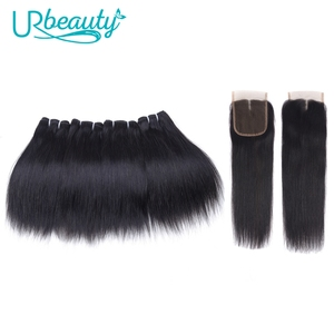 Image 1 - Human Hair Bundles with Closure Straight Brazilian Hair 4 Bundles with Middle Part Closure 100% Remy Human Weaving for Wig 8""