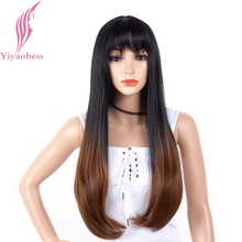 Yiyaobess 28inch Straight Long Black Brown Ombre Wig With Bangs Synthetic Hair Two Tone Natural African American Wigs For Women