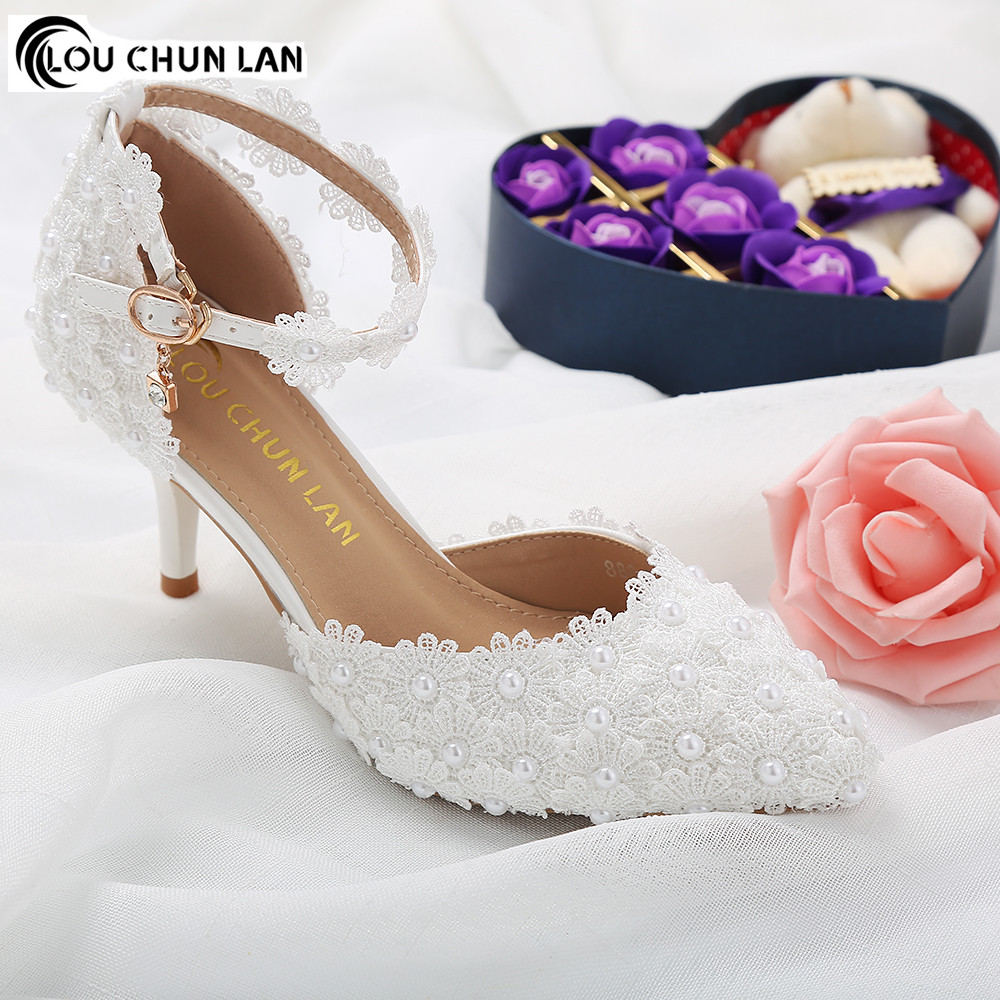 Vrouwen Pompen Schoenen Mooie witte kant parel bruid