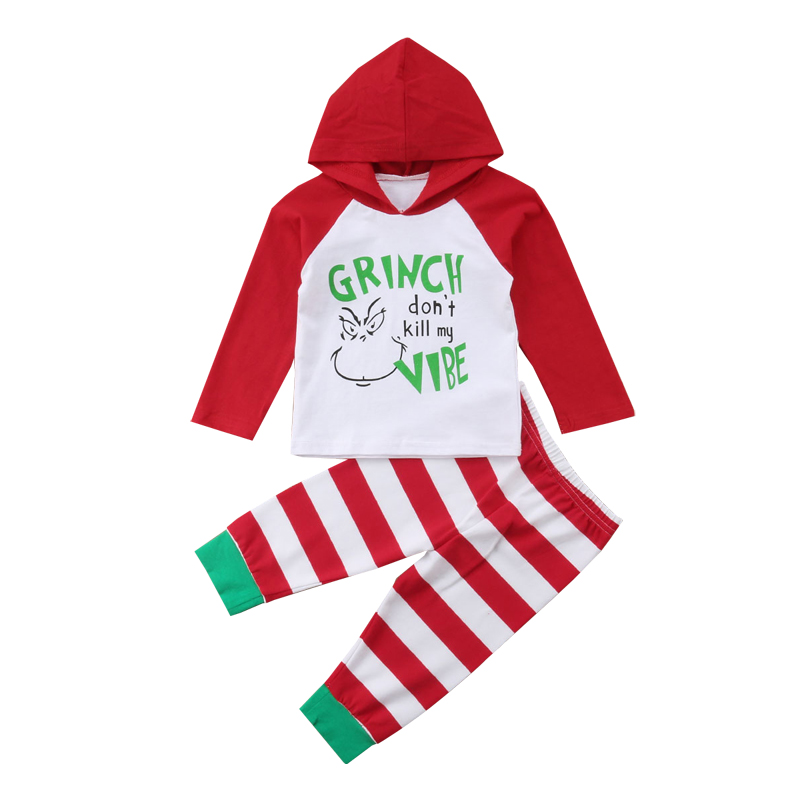 Baby Christmas Outfits Newborn Infant Long Sleeve Hooded T Shirt Grinch Don't Kill My Vibe Tops Striped Pants 2pcs Baby Clothes 2017 newborn infant baby clothing boys mama s letter boys blue short sleeve t shirt tops pants leggings casual baby outfits 2pcs