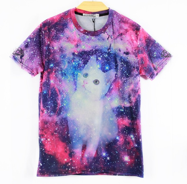 Nuevo 2014 cat head t-shirt mujeres/hombres espacio galaxy impresión 3d camisetas tops camisetas de manga corta más el tamaño m/l/xl/xxl