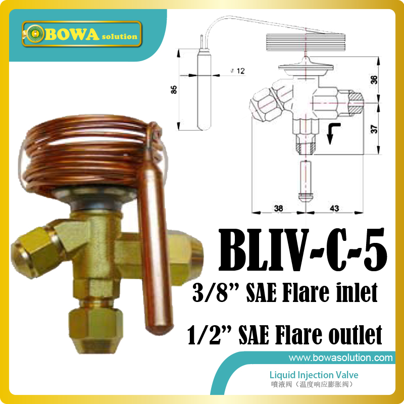 Liquid refrigerant injection valve working as compressor protector to cool compressor when discharge gas temperature is too high