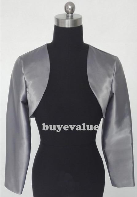 Branco preto xaile Bolero jaqueta de casamento nupcial Shrug Wraps manga comprida de cetim tamanho personalizado