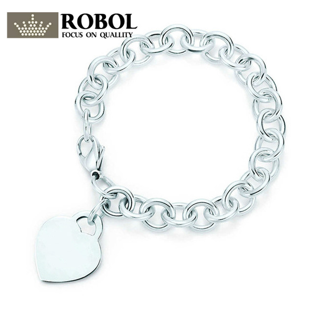 ROBOL TIFF 100% Heart-Shaped Lock Bracelet Sterling Silver Gift Jewelry Fashion Bracelet Factory Outlet TIFF Bracelet Copy Jewel tiff 100