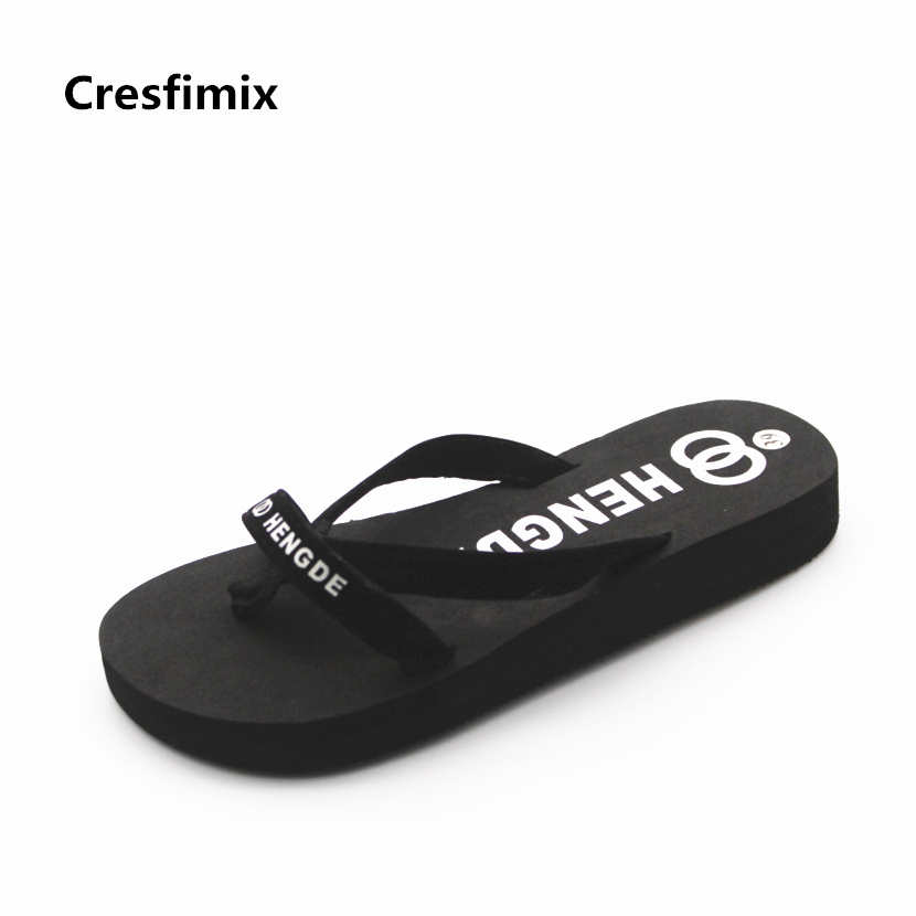 Cresfimix women fashion eva 3cm height flip flops lady casual soft and comfortable flip flops female cool black beach flip flops цена