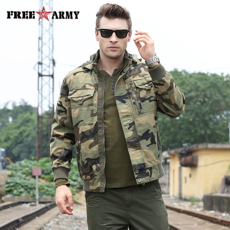 2018 Autumn Jackets Men Overcoat Hooded Army Green Military Jacket Zipper Men Camo Bomber Jacket Male Coat Streetwear Clothes