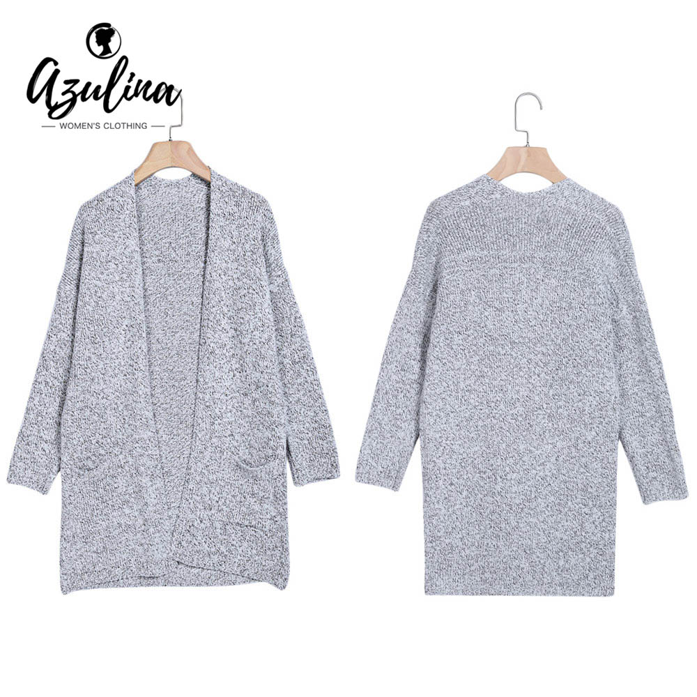 AZULINA Sweater and cardigan Women 2018 New Fashion Trendy Collarless Long Sleeve Pocket Open Front Cardigan Women Sweaters