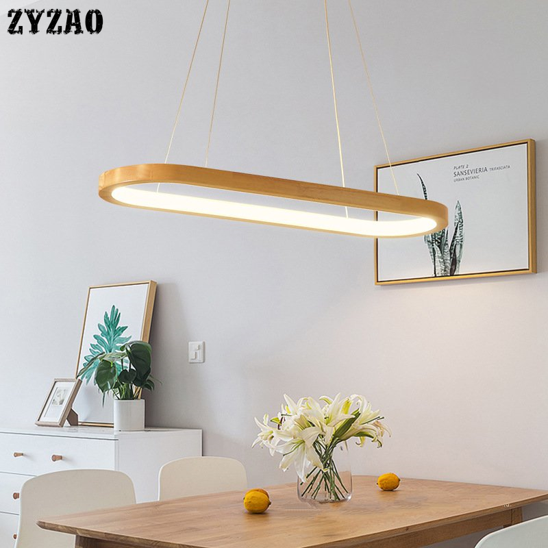 Nordic Solid Wood Restaurant Pendant Lamp Simple Bar Dining Room LED Hanglamp Rubber Wood Long Strip Led Pendant Lights Fixtures|Pendant Lights| |  -